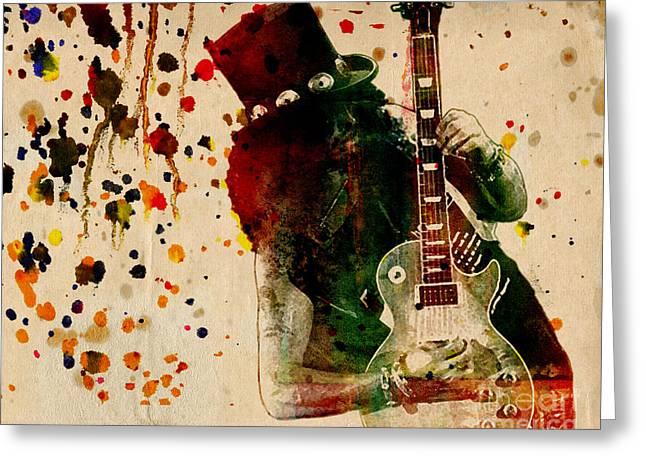 Axl Rose Greeting Cards - Slash - Watercolor Print from Original  Greeting Card by Ryan RockChromatic