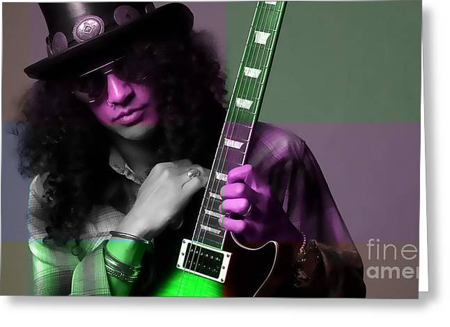 Celebrities Mixed Media Greeting Cards - Slash Greeting Card by Marvin Blaine