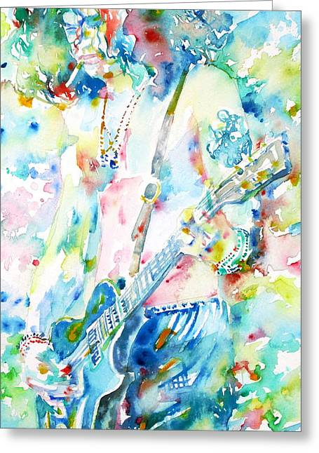 Guitar Player Drawings Greeting Cards - SLASH playing LIVE - watercolor portrait Greeting Card by Fabrizio Cassetta