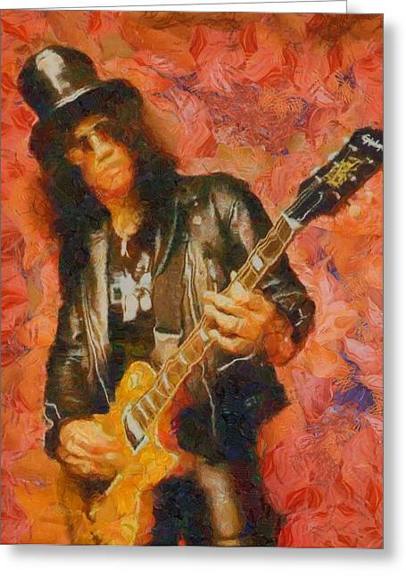 Slash Greeting Cards - Slash Shredding On Guitar Greeting Card by Dan Sproul