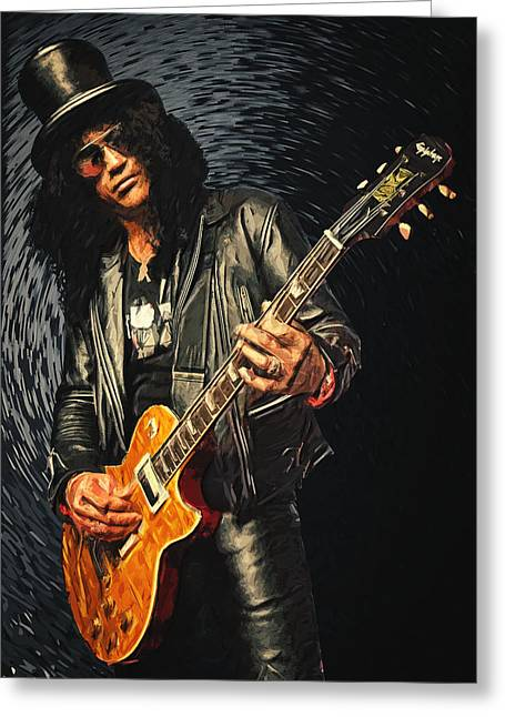 The Les Paul Guitar Greeting Cards - Slash Greeting Card by Taylan Soyturk