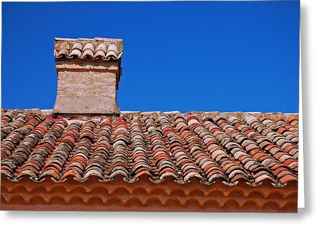 Slate Tile Composition Greeting Cards - Slate Roof Greeting Card by Allen Beatty