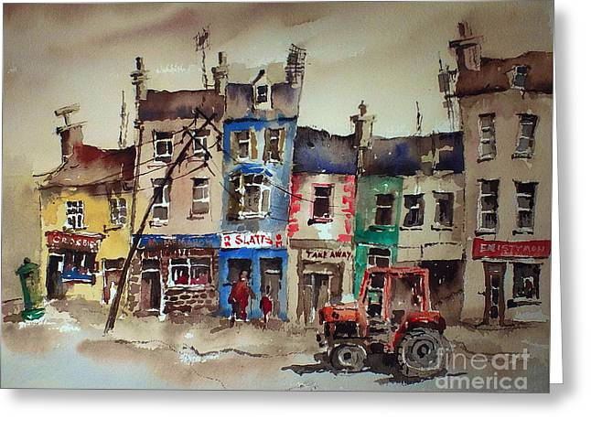 Ennistymon Greeting Card featuring the painting Clare.  Slatts In Ennistymon by Val Byrne