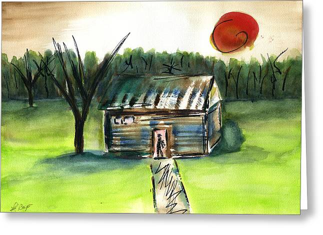 Slavery Paintings Greeting Cards - Slave Cabin Greeting Card by Frank Bright