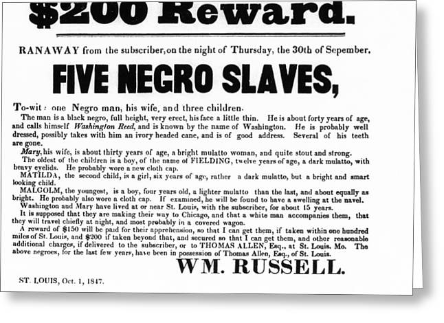 SLAVE FAMILY and CHILDREN ESCAPE - REWARD POSTER - 1847 Greeting Card by Daniel Hagerman