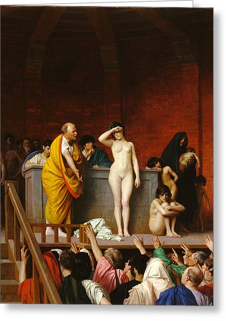 Gerome Greeting Cards - Slave Market in Rome Greeting Card by Jean-Leon Gerome