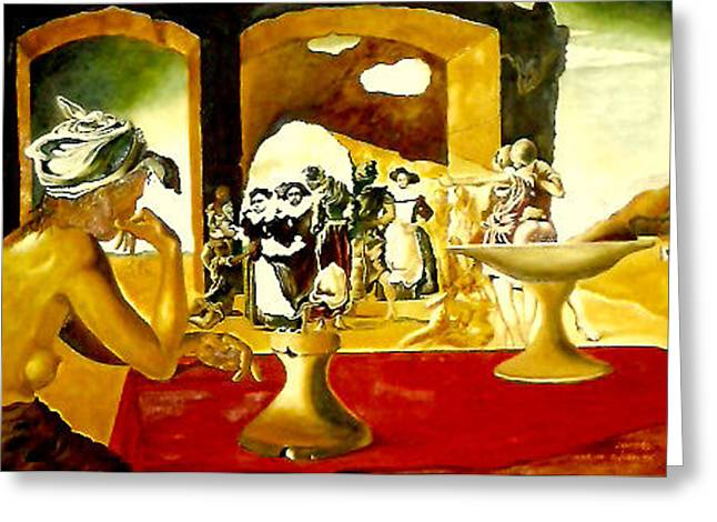 Slaves Greeting Cards - Slave Market with the Invisible Bust of Voltaire Greeting Card by Henryk Gorecki