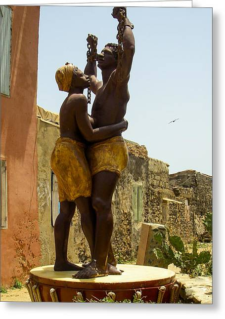 Geobob Greeting Cards - Slave Memorial Statue Ile Goree Dakar Senegal West Africa Greeting Card by Robert Ford