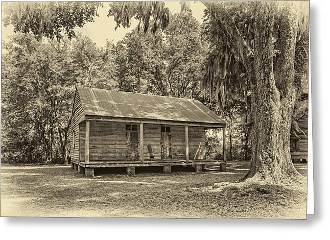 Slaves Photographs Greeting Cards - Slave Quarters 3 sepia Greeting Card by Steve Harrington