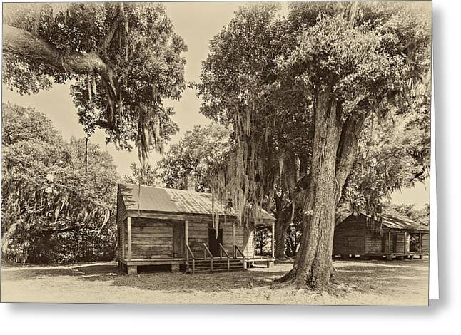 Slaves Photographs Greeting Cards - Slave Quarters sepia Greeting Card by Steve Harrington