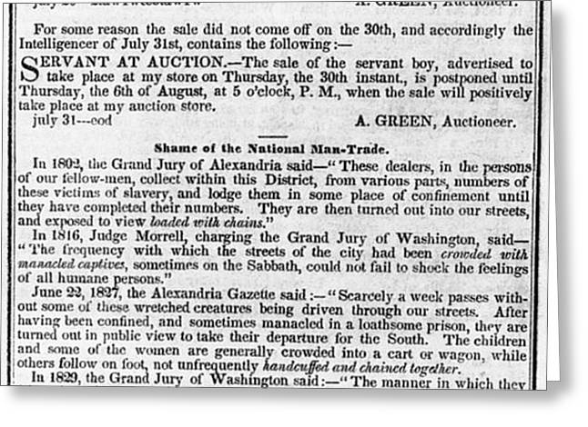 SLAVE TRADE NEWS - 1847 Greeting Card by Daniel Hagerman