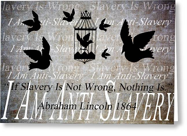 Abolitionist Mixed Media Greeting Cards - Slavery Greeting Card by Angelina Vick