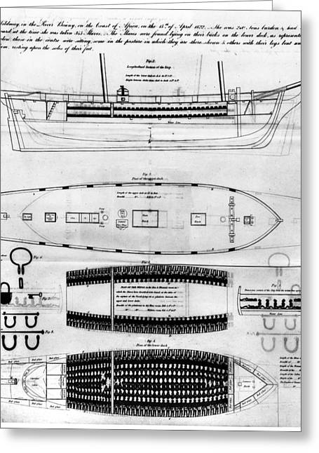 Slavery Greeting Cards - Slavery: Slave Ship, 1822 Greeting Card by Granger