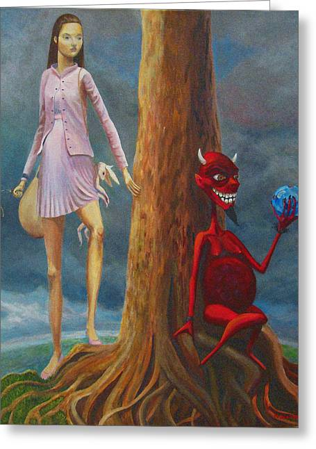 Overcome Greeting Cards - Slaying The Devil Who Eats My Dreams Greeting Card by Mindy Huntress