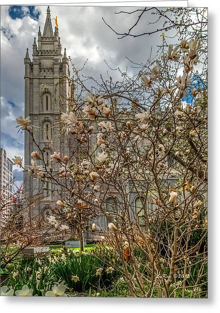 Salt Lake City Temple Photography Greeting Cards - SLC Blossom Bush Greeting Card by La Rae  Roberts