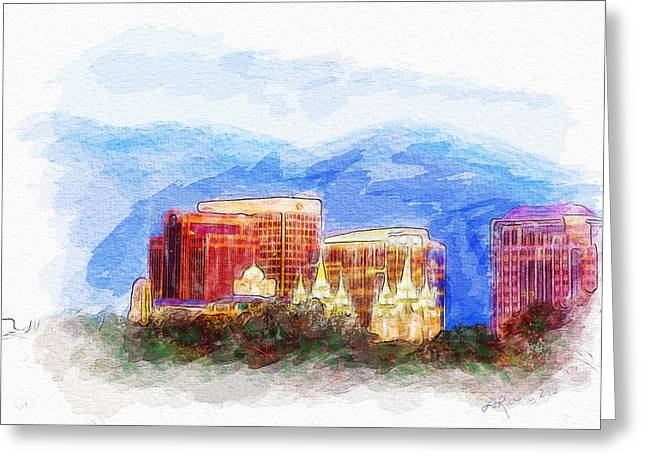 Slc Greeting Cards - SLC Skyline Watercolor Greeting Card by La Rae  Roberts