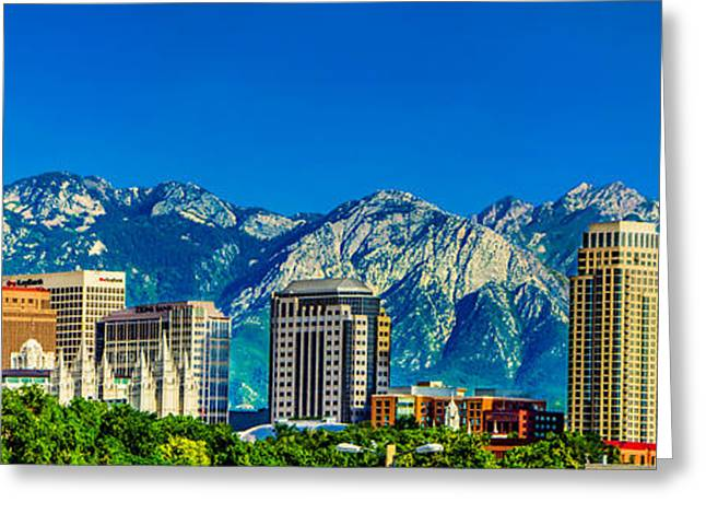 Slc Photographs Greeting Cards - SLC Skyline with LDS Temple Greeting Card by La Rae  Roberts