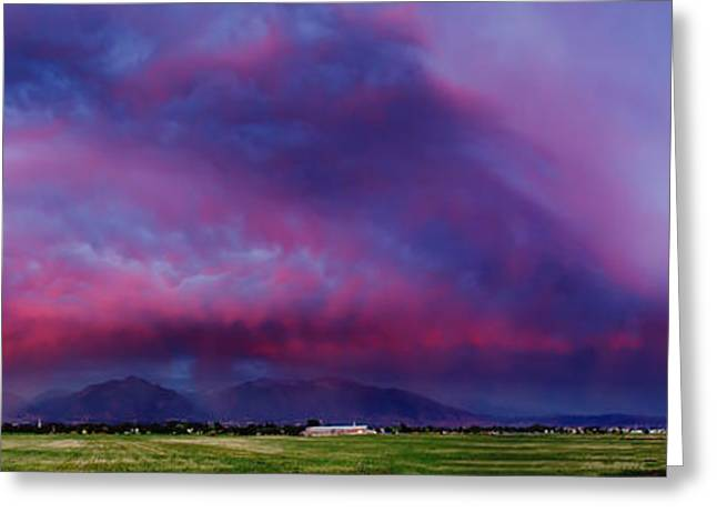 Slc Greeting Cards - SLC Sunset Panorama Greeting Card by La Rae  Roberts