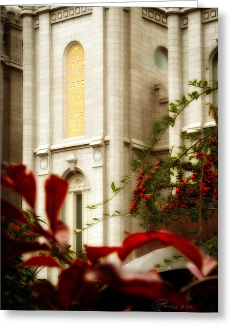 Slc Greeting Cards - SLC Temple Berries n Gold Greeting Card by La Rae  Roberts