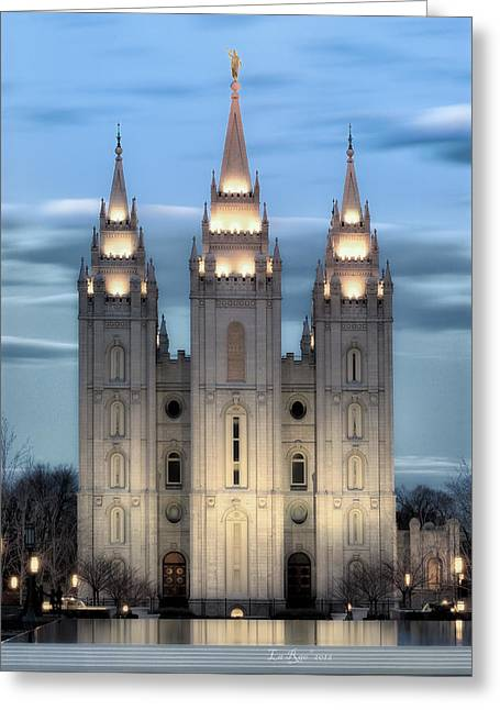 Salt Lake City - Utah Greeting Cards - SLC Temple Blue Greeting Card by La Rae  Roberts