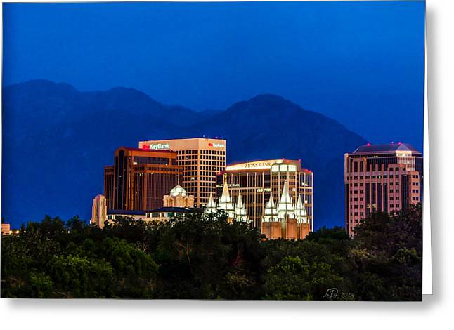 Slc Greeting Cards - SLC Temple Skyline Dusk Greeting Card by La Rae  Roberts