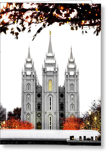 Utah Temples Greeting Cards - SLC White n Red Temple Greeting Card by La Rae  Roberts