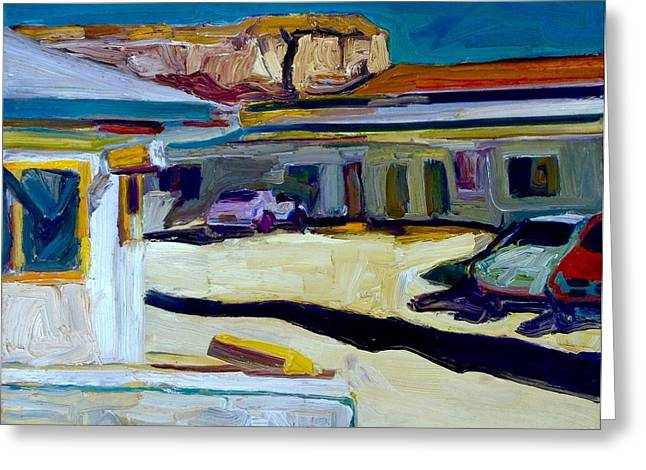 Richard Diebenkorn Greeting Cards - Sleazy Motel Gallup New Mexico Greeting Card by Chris Easley