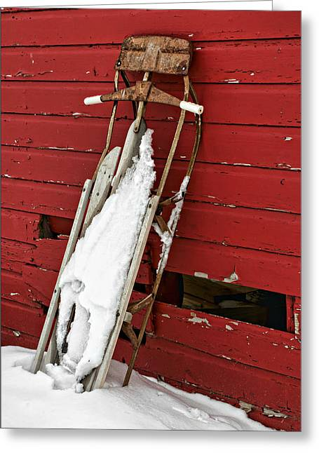 Outbuildings Greeting Cards - Sled on Red #2 Greeting Card by Nikolyn McDonald