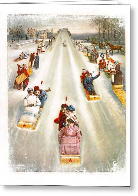 Tobogganing Greeting Cards - Sledding Advertisement 1886 Greeting Card by Audreen Gieger-Hawkins