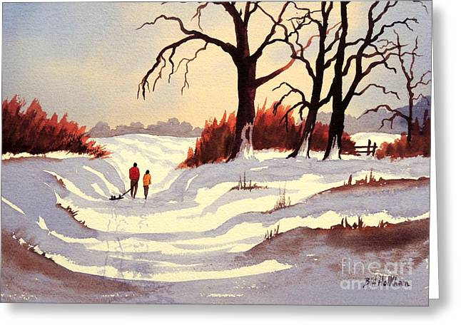 Tobogganing Greeting Cards - Sledding Greeting Card by Bill Holkham