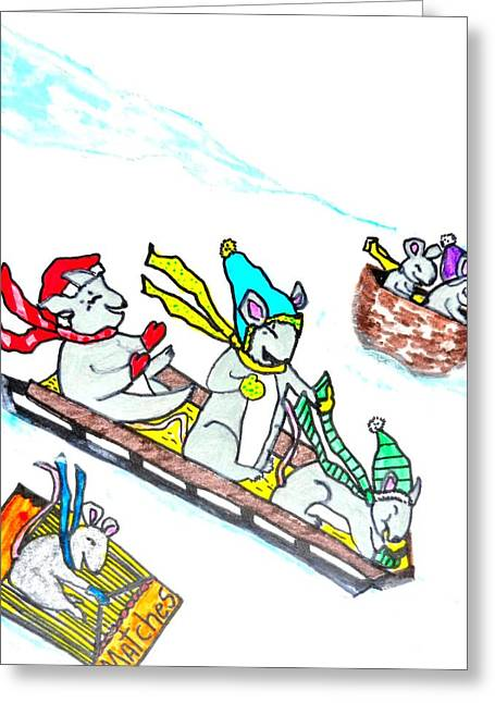 Mouse Pastels Greeting Cards - Sledding Field Mice Greeting Card by Jo-Ann Hayden