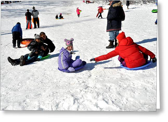 Prospects Greeting Cards - Sledding on White Snow in Prospect Park Brooklyn Greeting Card by Diane Lent