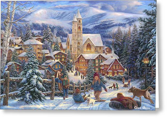 Puppies Greeting Cards - Sledding to Town Greeting Card by Chuck Pinson