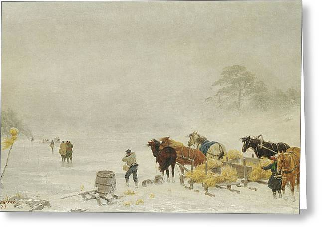 Sledge Photographs Greeting Cards - Sledges On The Ice, 1873 Oil On Canvas Greeting Card by Arthur Nikutowski