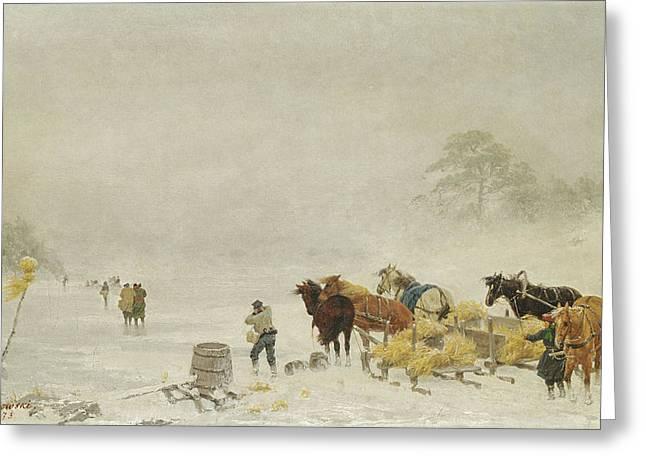 Sledge Greeting Cards - Sledges On The Ice, 1873 Oil On Canvas Greeting Card by Arthur Nikutowski