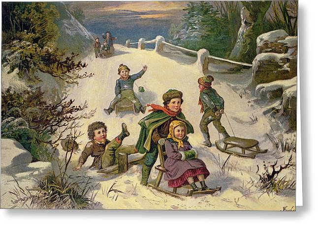 Sledge Greeting Cards - Sledging & Snowballing, 19th Century Oleograph Greeting Card by Greben