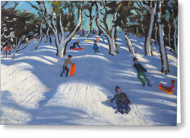 Winter Fun Paintings Greeting Cards - Sledging at Ladmanlow Greeting Card by Andrew Macara