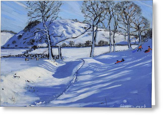 Winter Fun Paintings Greeting Cards - Sledging  Derbyshire Peak District Greeting Card by Andrew Macara