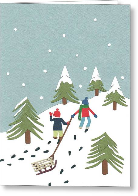 Footsteps Greeting Cards - Sledging Greeting Card by Isobel Barber