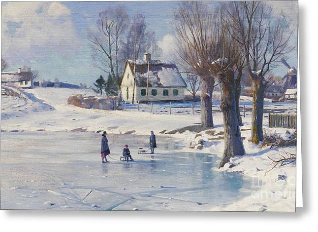 Bare Trees Greeting Cards - Sledging on a Frozen Pond Greeting Card by Peder Monsted