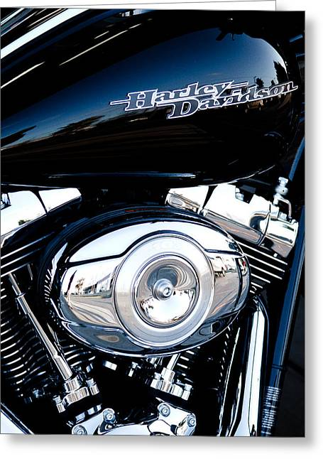 Handle Bar Greeting Cards - Sleek Black Harley Greeting Card by David Patterson