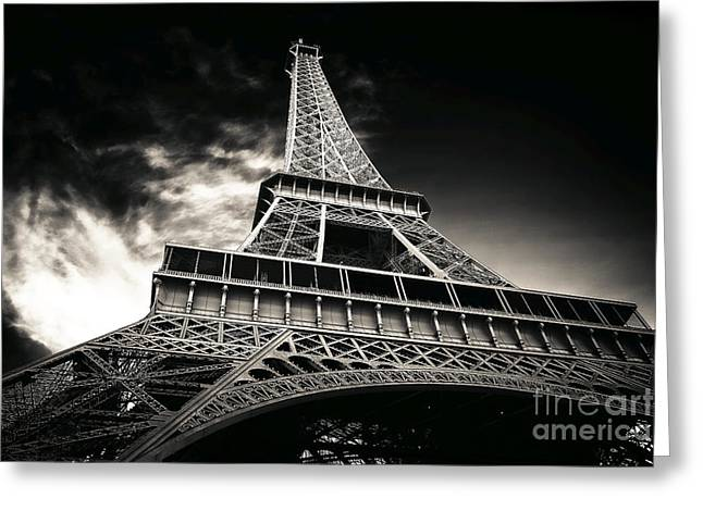 Brown Tones Greeting Cards - Sleek Eiffel Tower Greeting Card by John Rizzuto