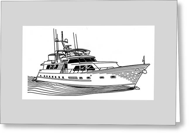 Sailboats In Harbor Greeting Cards - Sleek Motoryacht Greeting Card by Jack Pumphrey