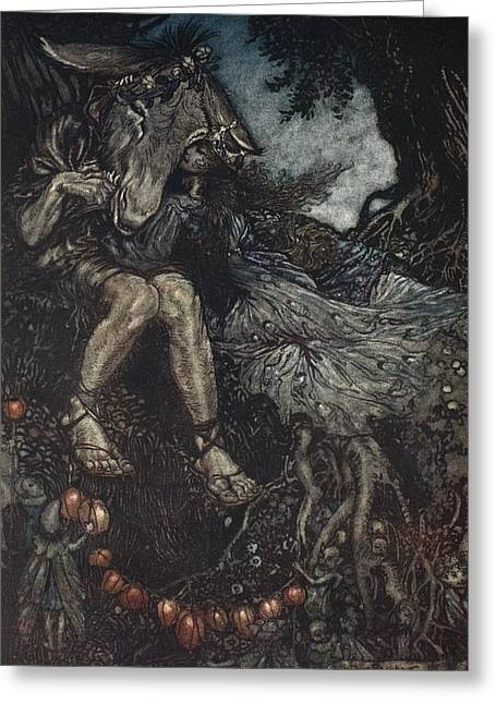 Fairies Drawings Greeting Cards - Sleep Thou, And I Will Wind Thee Greeting Card by Arthur Rackham