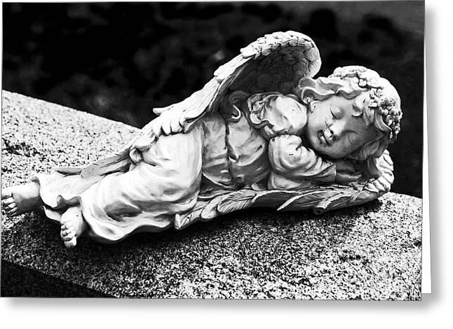 Headstones Greeting Cards - Sleeping Angel Greeting Card by John Rizzuto