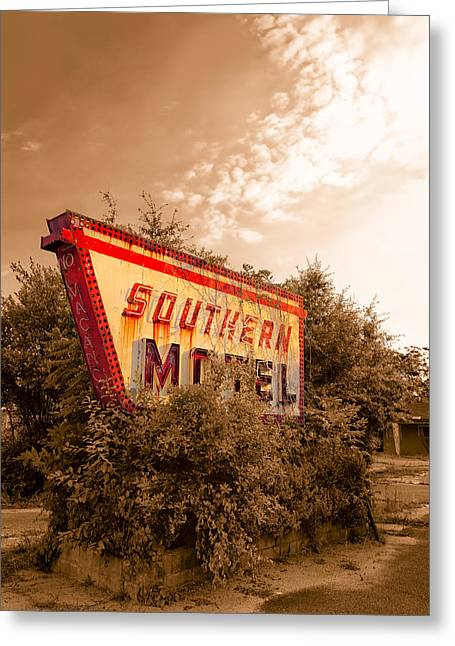 Crisp Greeting Cards - Sleeping At The Southern Motel - Fading Americana Greeting Card by Mark Tisdale