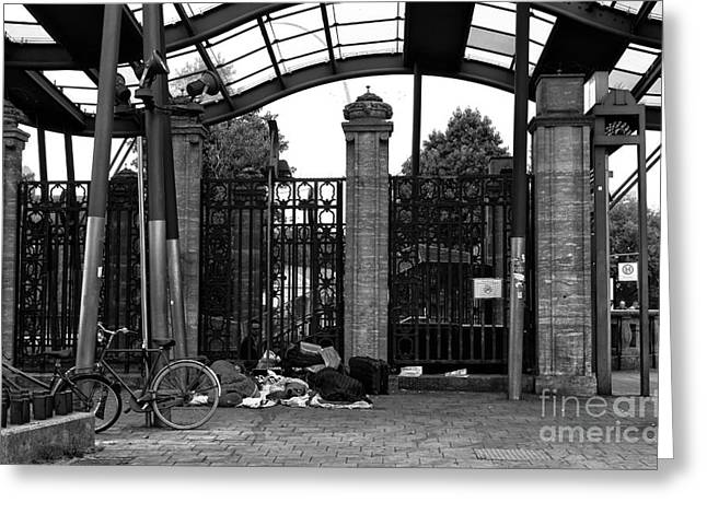 Sleeping At The Train Stop Mono Greeting Card by John Rizzuto