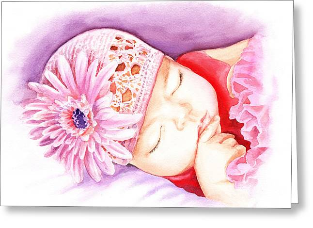 Baby Pink Greeting Cards - Sleeping Baby Greeting Card by Irina Sztukowski