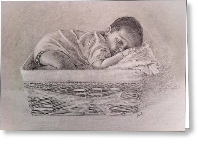 Pannier Greeting Cards - Sleeping baby Greeting Card by Lorena Canalejas