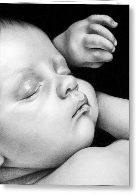 Precious Moment Greeting Cards - Sleeping Baby Greeting Card by Natasha Denger